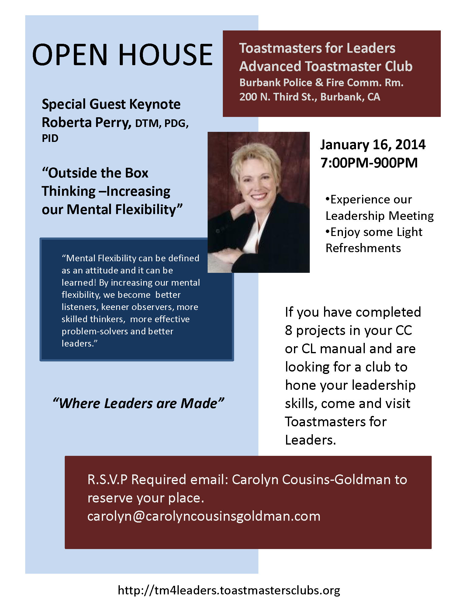 toastmasters for leaders open house flyer toastmasters for leaders open house flyer