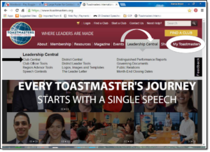 Toastmaster Home page