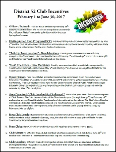 Club Incentives from February 1st to June 30th, 2017