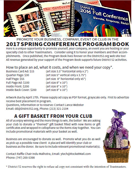 Click to download advertising in the Spring Conference Program Book