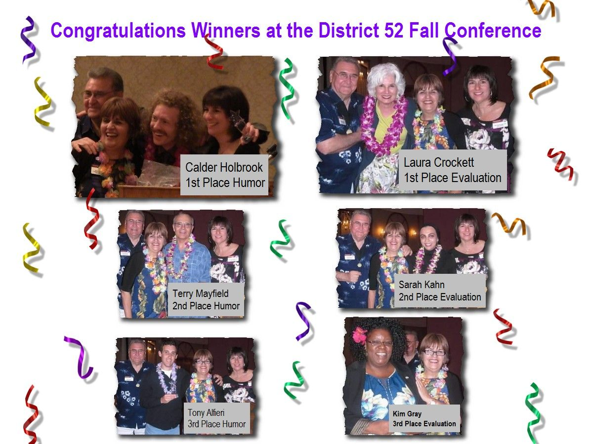 District 52 Contest Winners from Fall Conferece